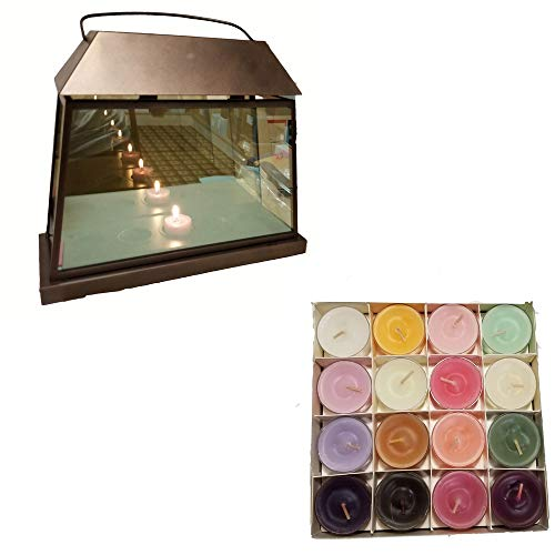 (ShoppeShare Reflective Mirror Tealight Holder Lantern Home Decor and Candles Bundle - Retired PartyLite)