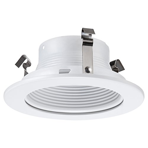 TORCHSTAR 4 Inches Recessed Can Light Trim with White Metal Step Baffle, for 4 Inch Recessed Can, Fit Halo/Juno Remodel Recessed Housing, Line Voltage Available