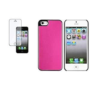 Bloutina CommonByte Hot Pink Frost Aluminum Rear Hard Cover Case+Screen Protector For iPhone 5 G