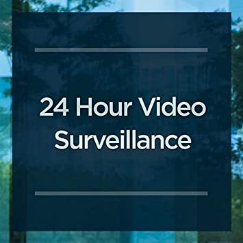 5-Pack CGSignLab Nostalgia Burst Clear Window Cling 24 Hour Video Surveillance 24x24