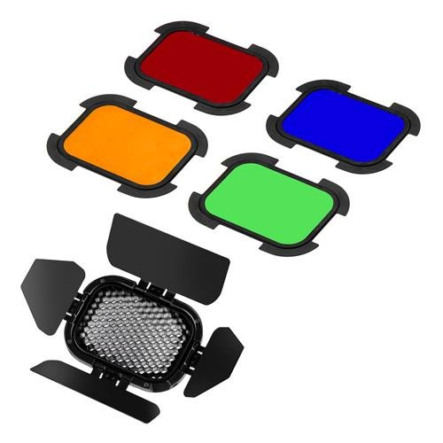 Flashpoint Barndoor Kit for The eVOLV 200 Fresnel Head with 4 Color gels (BD-07) by Flashpoint