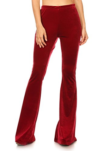 Women's Regular and Plus Size Bell Bottom Velvet Elastic Palazzo Wide Leg Pants MADE IN USA