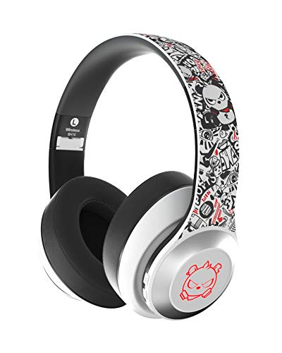 {Upgraded} Bluetooth 5.0 Headphones, Dualpow Wireless Over Ear Headset 24H Playtime Foldable Wired/Wireless Deep Bass Microphone Compatible with XBOX/PS4/IPHONE/ANDROID/IPAD/TABLETS/TV (Angry White)