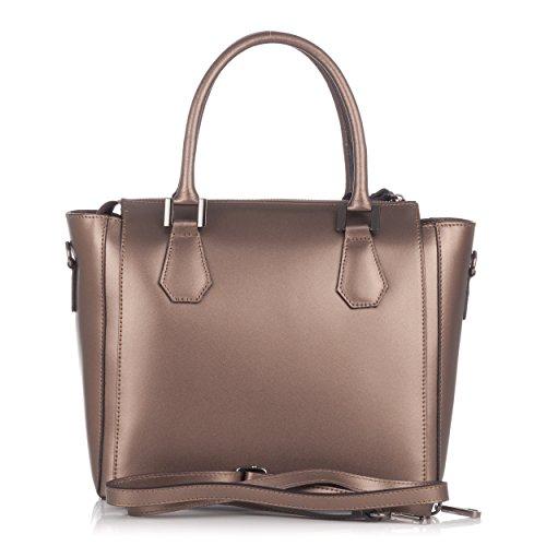 métallisé cuir style Bronze Sac Moretti de docteur en Laura 0Bxp67nq0