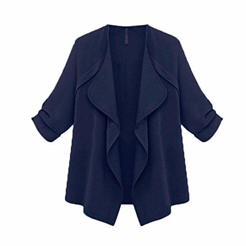 larga SHOBDW manga más chaqueta Armada otoño Cardigan primavera Mujer sólida suelta xXrqXgfw