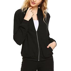 Zeagoo Women's Sporty Zip Up Long Sleeve Coat Lightweight Bomber Jacket (Black, X-Large)