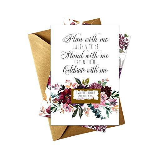 Shabby Floral Be My Bridesmaid Scratch Off Cards Set of 7 | Maid of Honor + Matron of Honor | Proposals and Gold Envelopes -