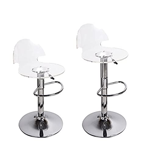 Adeco Transparent Acrylic Hydraulic Lift Adjustable Barstool Chair Chrome Finish Pedestal Base (Set of - Chair Chrome Base
