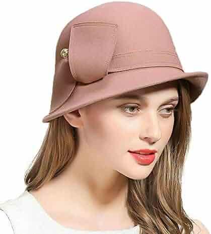 3b600cc6306 FADVES Wool Felt Hats Wide Brim Fedora Hat Cloche Bowler Round Cap Vintage  Fedoras