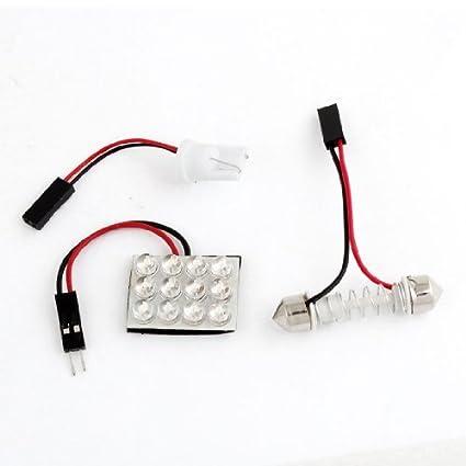 eDealMax Panel Adaptador Universal Para coche Blanco 12 LED + T10 + Primavera Adorno Base del
