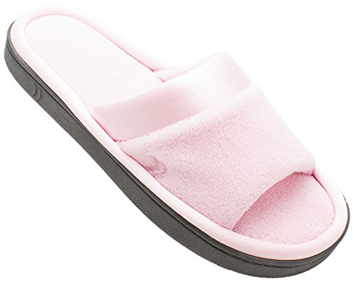 On Your Feet Women's Satin Trim Microterry Slide Slippers Peony X-Large - Open Trim Toe