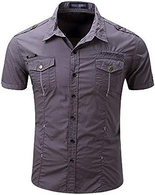 Peggy Gu Camisa Casual de Hombre Slim Fit Camisa de Manga Corta al Aire Libre Camisas de Trabajo Vestido Tops Camisa de Ajuste estándar para Hombre (Color : Gris, tamaño : XXXL):