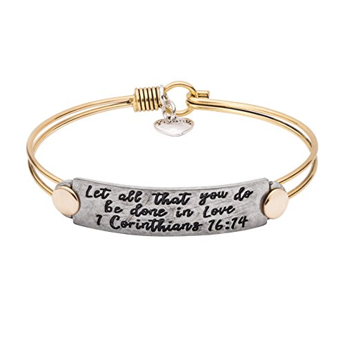 UNQJRY Religious Bracelets for Women Christian Bible Verse Bangle Inspiration Vintage Brass Copper Friendship Jewelry Gift for Girl Women Engraved Let All That You Do Be Done in Love