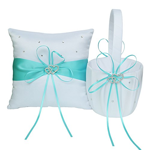 ARKSU Flower Girl Basket 5x8.5 inch and Ring Pillow 7.8x7.8 inch decorated with Satin Ribbon and 2 Heart Rhinestones for Rustic Wedding Shower Ceremony Party-Aqua Blue