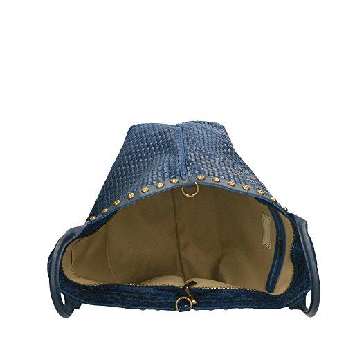 véritable 53x34x20 Cm bandoulière Borse avec tressé Made cuir main en Italy en Bleu à Sac Chicca in cuir imprimé WqaTvvn