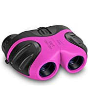 VNVDFLM Binoculars Toys for Children,Birthday Gifts for 4-9 Year Old Girls for Outdoor Play,5-12 Year Old Girls Boys Presents,Best Gift for Kids Hunting,Learning (Pink)