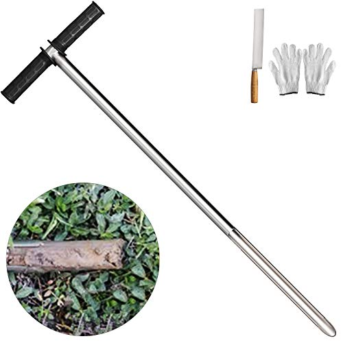 """Happybuy 40"""" Soil Sampler Probe 304 Stainless Steel Soil Probe Sampler T-Style Rubber Handle Soil Probes for Soil Sampling"""
