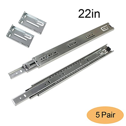 Gobrico Ball Bearing Drawer Slides With Brackets Rear/Under Mounting Full Extension 22in Heavy Duty Glides Runners 5Pairs