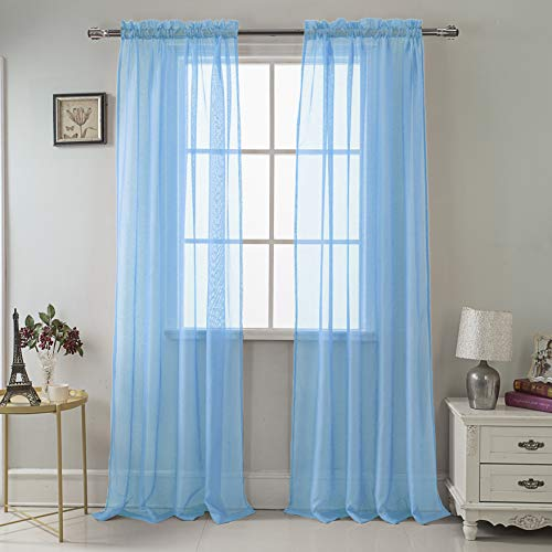 - RT Designers Collection Celine Sheer 55 x 90 in. Rod Pocket Curtain Panel, Neon Blue