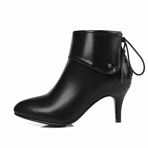 Carolbar Women's Solid Color Grace Stiletto High Heel Zip Short Work Boots Black QqYAFz