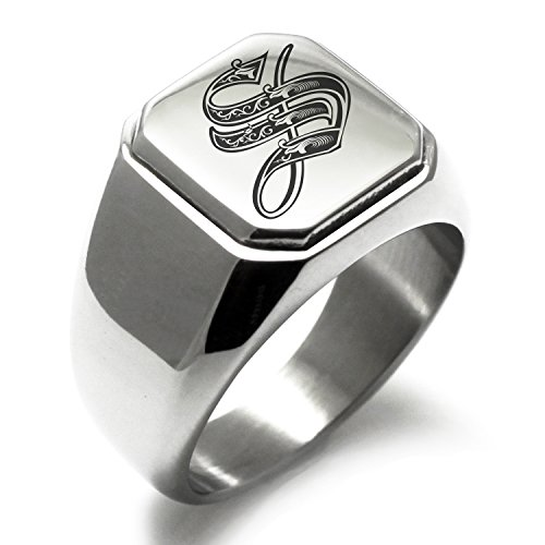 Stainless Steel Letter S Alphabet Initial Royal Monogram Engraved Square Flat Top Biker Style Polished Ring, Size (Initial Monogram Ring)