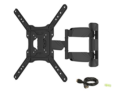 Rosewill TV Wall Mount Bracket for most 17″-55″ LED LCD TV Monitors up to 77lbs VESA 400x400mm with Full Motion Tilt / Swivel 20″ Extension Arm 6 ft 4K HDMI Cable, Integrated Bubble Level RHTB-17002