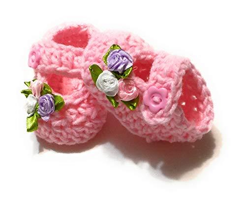(MiC Crafts Handmade Baby Booties 5-7 lbs baby preemie/newborn Pink (#9))