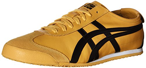 Onitsuka Tiger Unisex Mexico 66 Shoes DL408, Yellow/Black, 10 M US - Mens 5 Eye Padded Collar