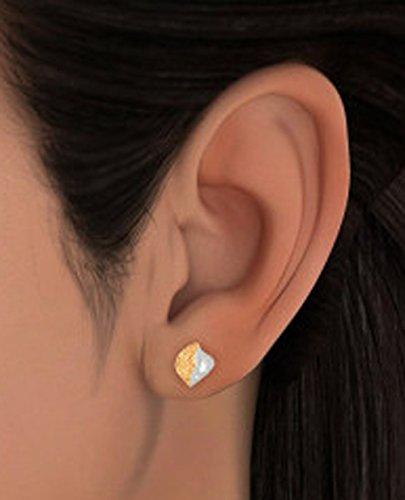 14K Or jaune 0.08CT TW White-diamond (IJ | SI) Boucles d'oreille à tige