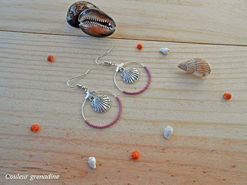 violet saint valentin cadeau personnalis/é Boucles doreilles cr/éoles en perles de miyuki ma/îtresse breloque coquillage f/ête des m/ères f/ête des grand m/ères no/ël cadeau anniversaire p/âques