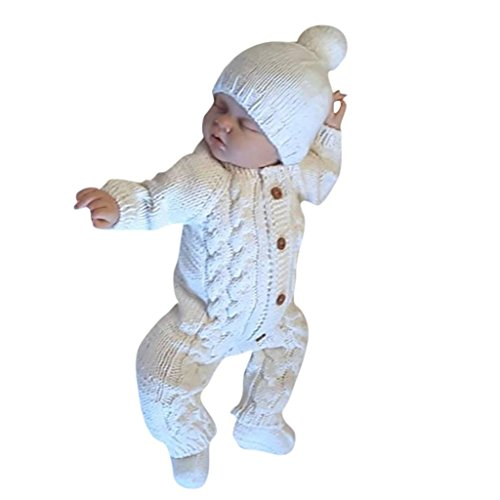 Warm Baby Sweater Romper,Kintaz Newborn Toddler Infant Cotton Blend KnitButton Up Coveralls Sleep N Play Long Sleeve Outwear Romper Jumpsuit (White, Size:6Month)