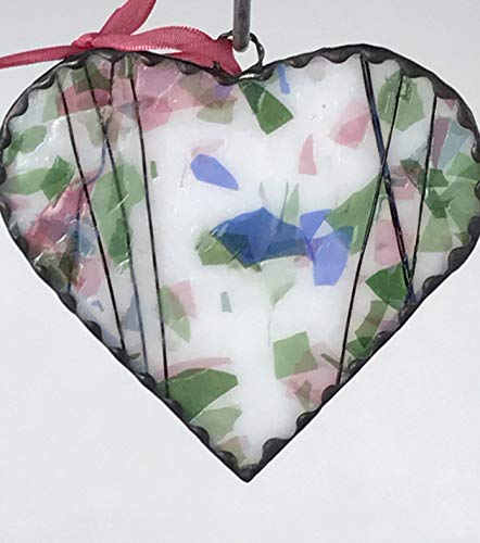 Stained Glass Heart Sun-catcher Light Pink & White Fractures-Streamers