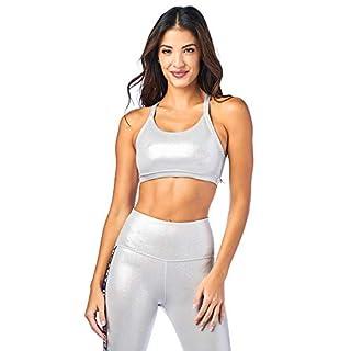 Zumba Athletic Dance Fitness High Impact Workout Metallic Sports Bra for Women