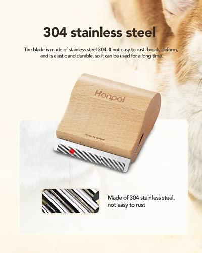 Honpal Deshedding Grooming Tool for Cats-Ergonomic Design Wooden Groom Brush, Professional Pet Groomer, Painlessly Loose Remove for Short & Long Hair, Fur & Dirt