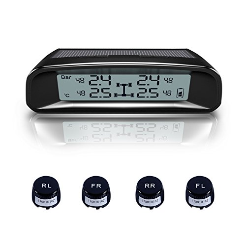 TYDO Solar Powered TPMS Wireless Tire Pressure Monitoring System 4 Sensors DIY Tire Gauge With Auto Alarm System Real-time Displays for RV Trailer, External Sensor by TYDO