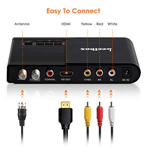 Leelbox Converter Box, 1080P ATSC Digital Tuner Box for Analog TV, Supports Recording PVR, Live TV Shows, Multimedia Playback, H.265 Video Decoding, IR Search, Free Local TV