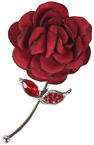 Flairs New York Gentleman's Essentials Premium Handmade Flower Lapel Pin Boutonniere (Red Enchanted ()