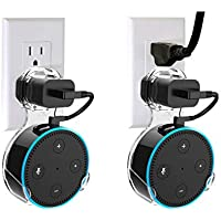 2 Pack Wall Mount Hanger Stand for Amazon Echo Dot 2nd Generation, Bracket Stand Holder Cable Organizer, Space Saving Plug in Mount Holder for Kitchen Bathroom Bedroom (Transparent, 2 Pack)