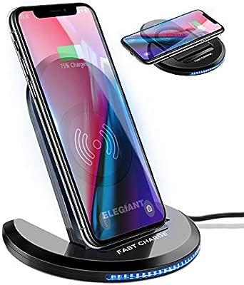 Cargador Inalámbrico, ELEGIANT Cargador Rápido Qi 10W para IOS Android Samsung Galaxy Note 9 S9 S8 Estación Manos Libres de Ángulo Ajustable con ...
