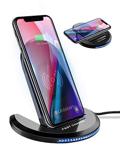 ELEGIANT 15W Cargador Inalámbrico Rápido Qi, 7.5W Compatible con iPhone12/11/SE 2/XS/XR/X/8, 10W para Samsung Galaxy S21…