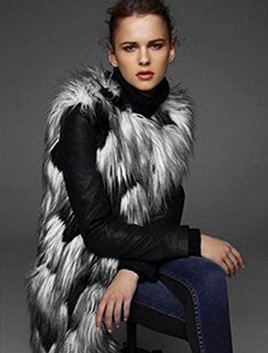 Femmes Image Manteau Gilet Court Veste Fourrure sans Comme YiLianDa Manches Faux Automne Outwear Hqndcf