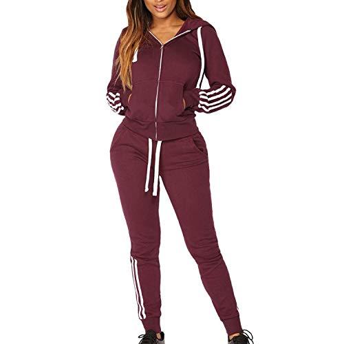 BAN LU Women's Hooded Back Letter Print Striped Long Sleeve Sweatshirt Tops+Pants Sports Set,X-Large,Red