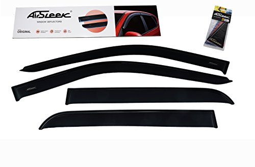 AirSleek Windows Deflectors Rain Guards Side Window Vent Visors for Crew Cab Chevrolet Chevy Silverado GMC Sierra 2014-2018 Outside Tape Mount