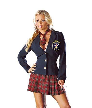 Dreamgirl Women's Prep School Girl Costume, Navy/Red/Multi,