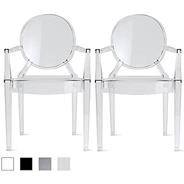 2xhome - Set of Two (2) - Clear - Modern Ghost Chair Armchair With Arm Polycarbonate Plastic Clear Transparent Crystal