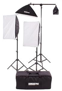 "StudioPRO Photography Photo Video Studio Two 4 Socket Heads 16""x24"" Softboxes With One EZ Setup 20""x28"" Soft box Boom Arm, 2900 Watt Output Lighting Kit by Fovitec Usa International Inc"