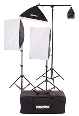 "StudioPRO Photography Photo Video Studio Two 4 Socket Heads 16""x24"" Softboxes With One EZ Setup 20""x28"" Soft box Boom Arm, 2900 Watt Output Lighting Kit by Fovitec Usa International Inc"