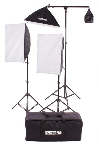 Fovitec StudioPRO 2000 Watt Photography Continuous Photo Video Studio Softbox Lighting Kit - Two 4 Socket Heads 16'' x 24'' Softbox With One EZ Setup 20'' x 28'' Soft box Boom Arm by Fovitec