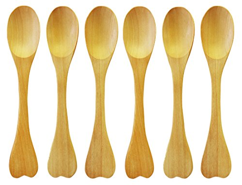 6 Piece Wooden Spoon Hand Craft 6 Inches Brown Sturdy Wooden Kitchen Utensil by The Green Garden by The Green Garden