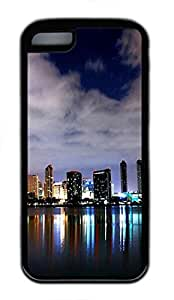iPhone 5C Case and Cover San Diego Skyline 3 TPU Silicone Rubber Case Cover for iPhone 5C Black